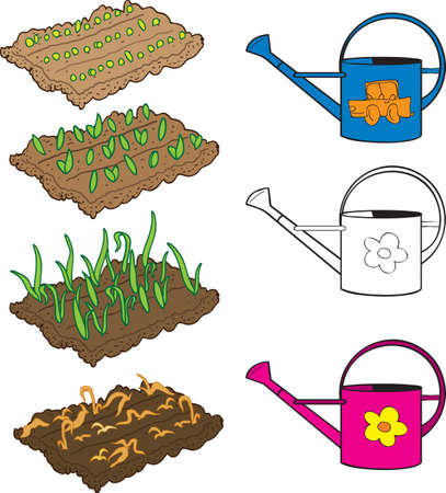Vegetable seedlings and watering can Illustration