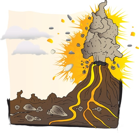 Volcano erupts, explodes in the mountains Vector