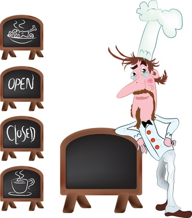Waiter, color vector cartoon illustration