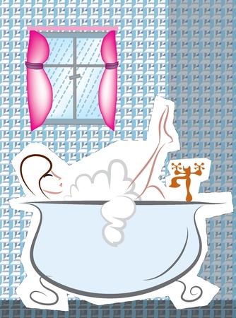 young girl bath: girl in bath Illustration