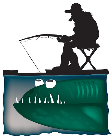 Fisherman, color vector illustration Vector