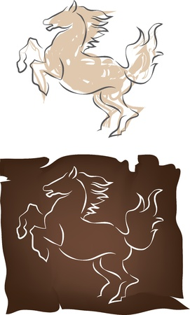 Horse draw, color vector