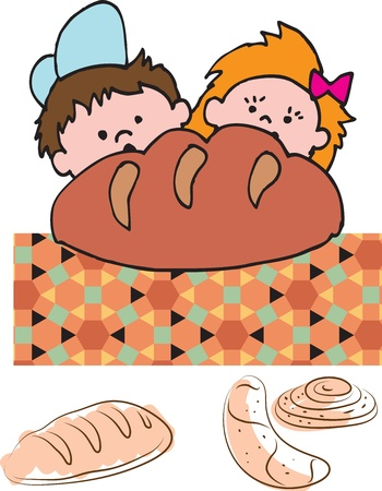 baking bread: Bakery children