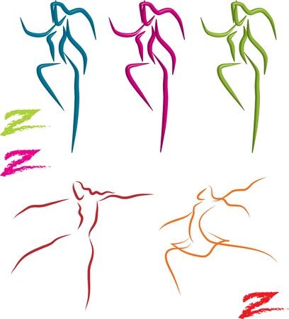 zumba: zumba, bailarines y bailarinas balett conjunto, el vector Vectores