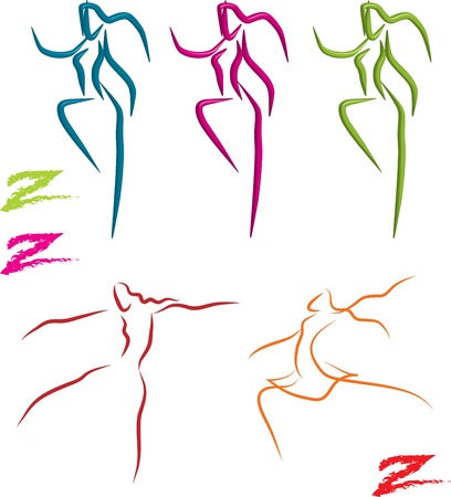 zumba dancers, and balett dancers set, vector