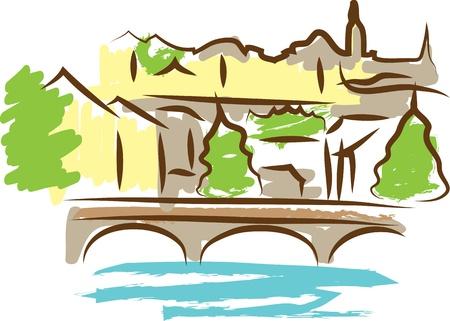 water scape: city scape Illustration