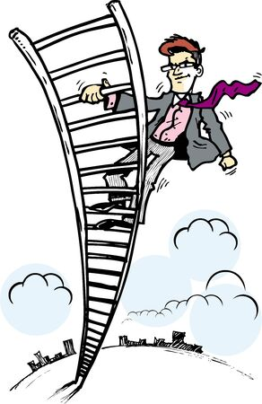 climbing ladder: business man in ladder