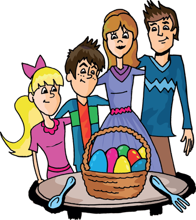couple having fun: easter family, hand drawn illustration