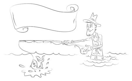 fly fisherman: Fisherman, black illustration Illustration