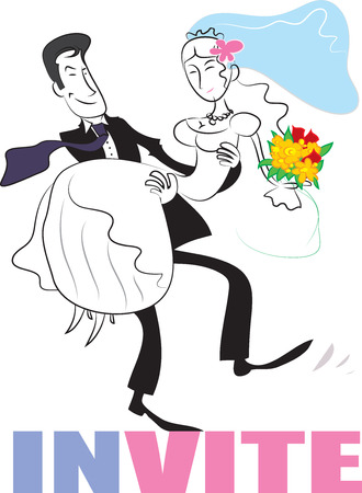 wedding couple: wedding couple. Wedding invitation graphics.
