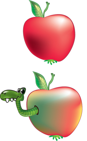 rotting: Apple and worm