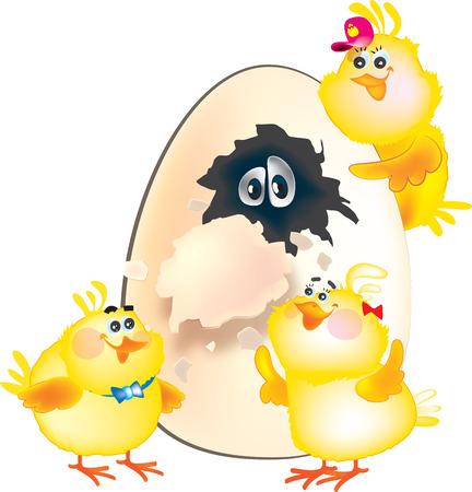Easter chicken and egg, color illustration Illustration