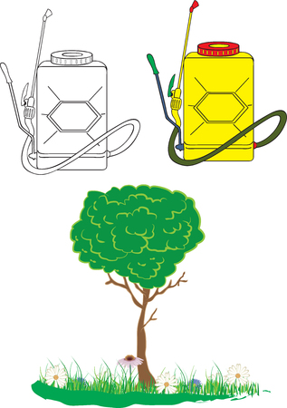 garden sprayer and tree with flowers Illustration