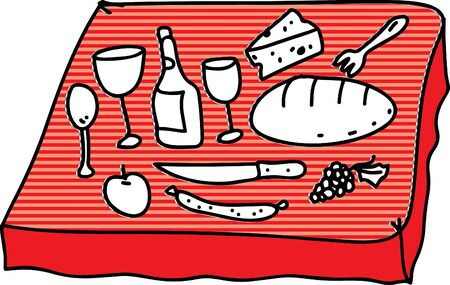 lunch table: Foods in desk Illustration