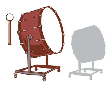 Bass drum and it's silhouette set. Vector illustration. Illustration