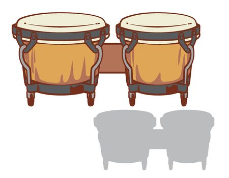 Bongo drums and it's silhouette set. Vector illustration.