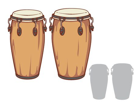 Conga drums and it's silhouette set. Vector illustration.