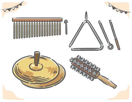 Percussion instruments set. Vector illustration.