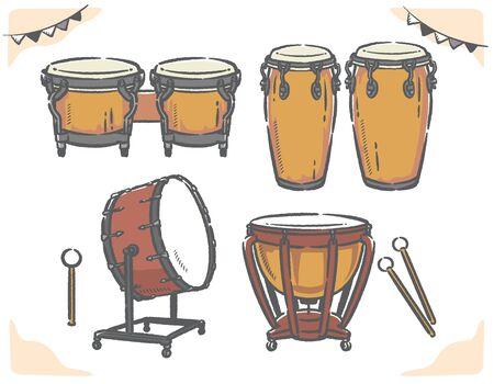 Percussion instruments set. Vector illustration. Ilustración de vector