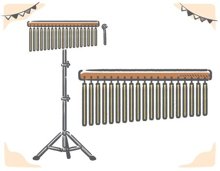 Bar chime instrument isolated on white. Vector illustration. Ilustrace