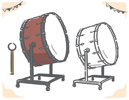 Bass drum isolated on white. Vector illustration. Illustration