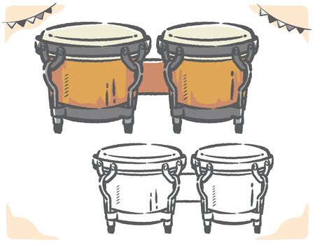 Bongo drums isolated on white. Vector illustration.