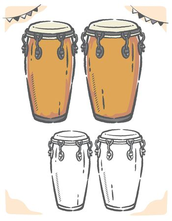 Conga drums isolated on white. Vector illustration.