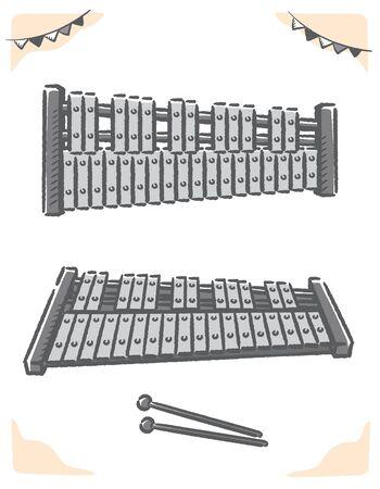 Glockenspiel isolated on white. Vector illustration.