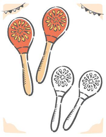 Maracas isolated on white. Vector illustration.