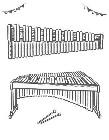 Marimba isolated on white. Vector illustration.