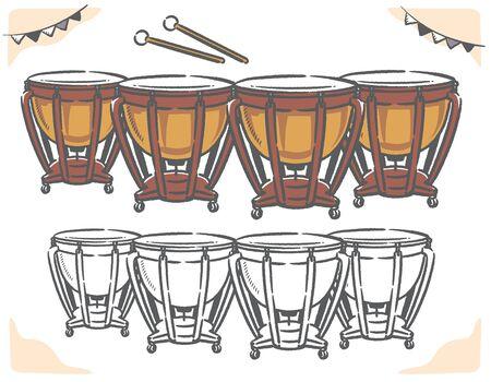 Timpani isolated on white. Vector illustration.