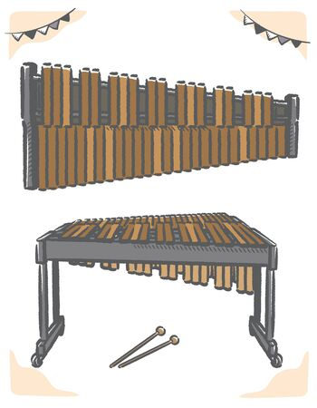 Xylophone isolated on white. Vector illustration.
