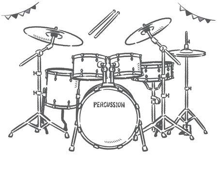 Drum set isolated on white. Vector illustration.