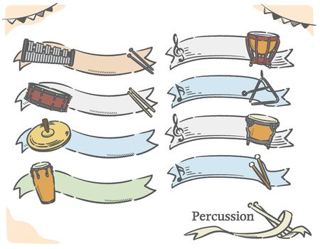 Percussion and music themed labels and frames. Vector illustration.