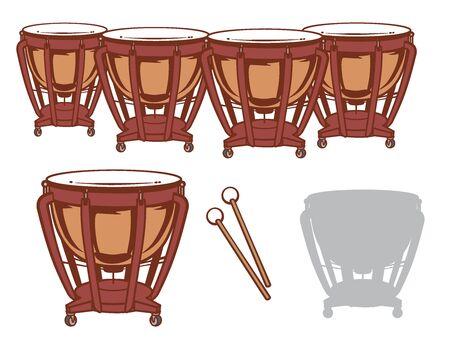 Timpani and it's silihouette set. Vector illustration. Illustration