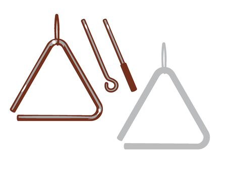 Musical triangle and it's silhouette set. Vector illustration.