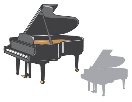 Grand piano and it's silhouette set. Vector illustration.