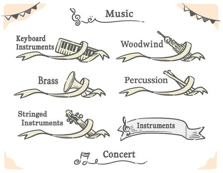 Vector labels of orchestra instruments, including woodwind, strings, brass, keybord, percussion.