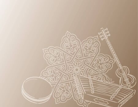 Music themed background with Arabic instruments. Vector illustration.