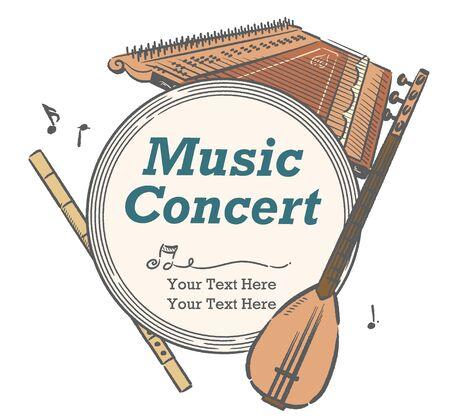 Poster or flyer design with Arabic instruments. Vector illustration. Vecteurs