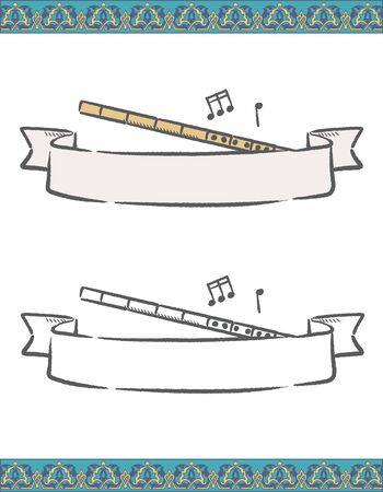 Music themed vector labels with Arabic instruments.