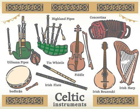 Celtic traditional instruments set. Vector illustration. Ilustração