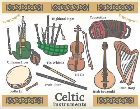 Celtic traditional instruments set. Vector illustration. 矢量图像