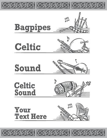 Music themed vector labels with Celtic instruments.