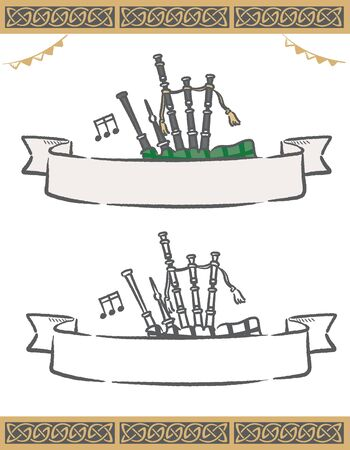 Music themed vector labels with Highland bagpipes.