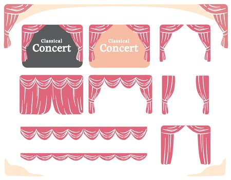 Vector illustration set of stage curtains for theater or concert.  イラスト・ベクター素材