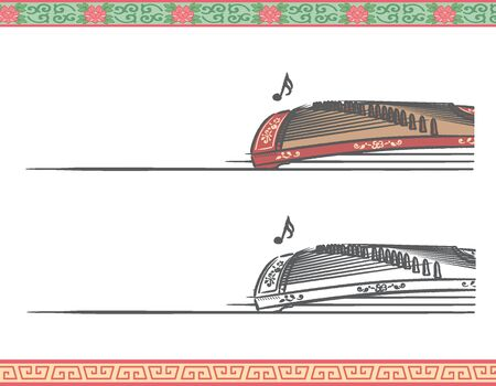 Music themed vector labels with chinese musical instruments.