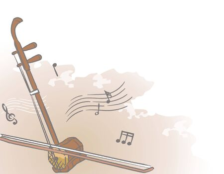 Music themed background with chinese musical instruments. Vector illustration.