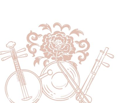 Music themed background with chinese musical instruments and peony flower. Vector illustration. Vettoriali