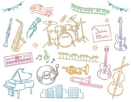 Jazz instruments set. Vector illustration.